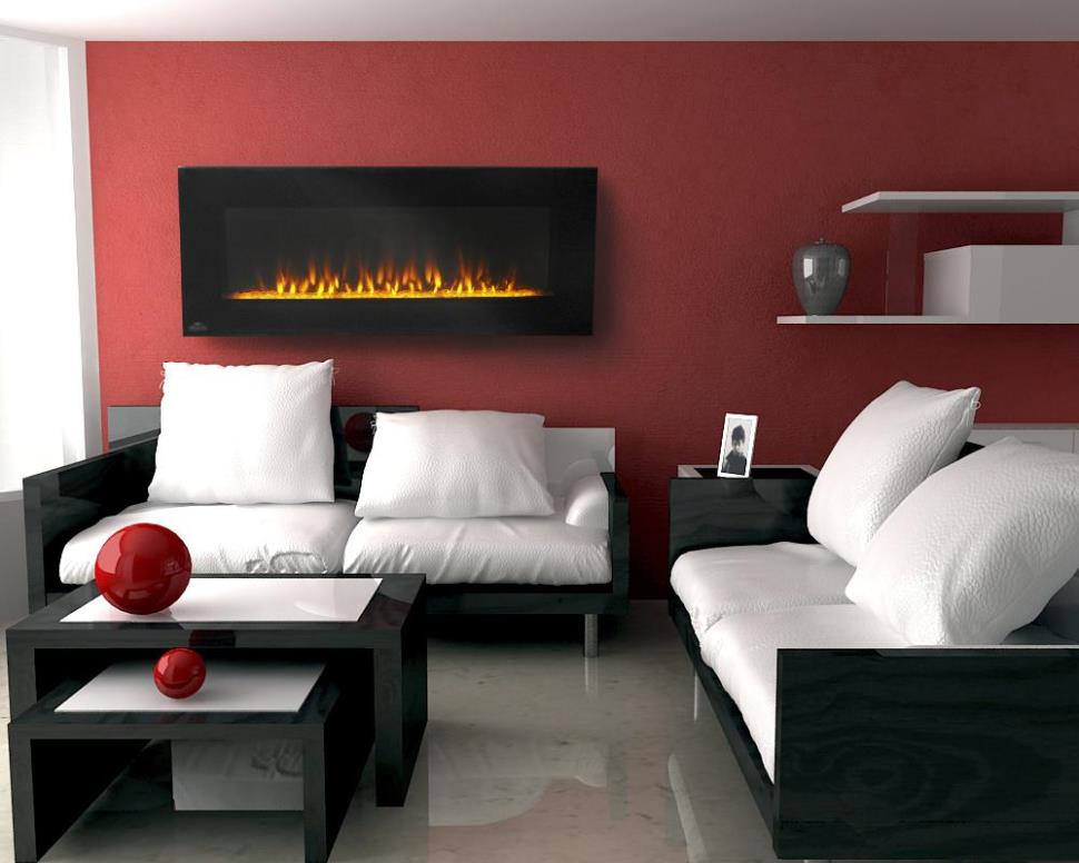 Image of: Wall Mounted Electric Fireplace With Thermostat