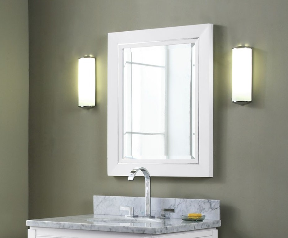 Image of: White Bathroom Mirror Cover