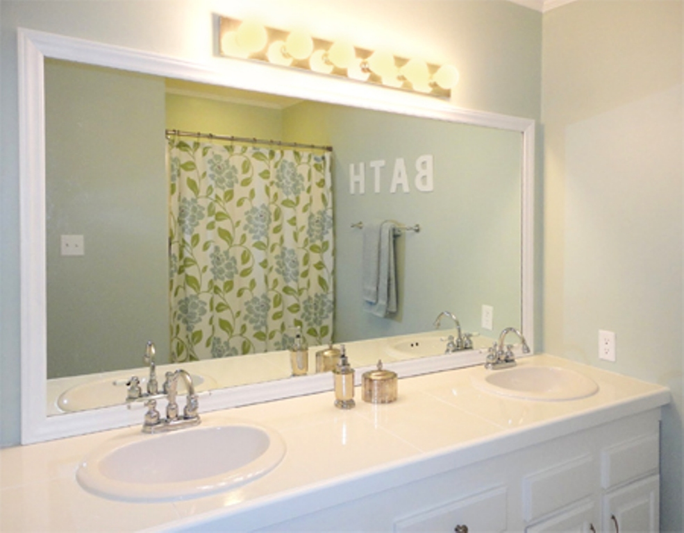 Image of: White Bathroom Mirror Frame