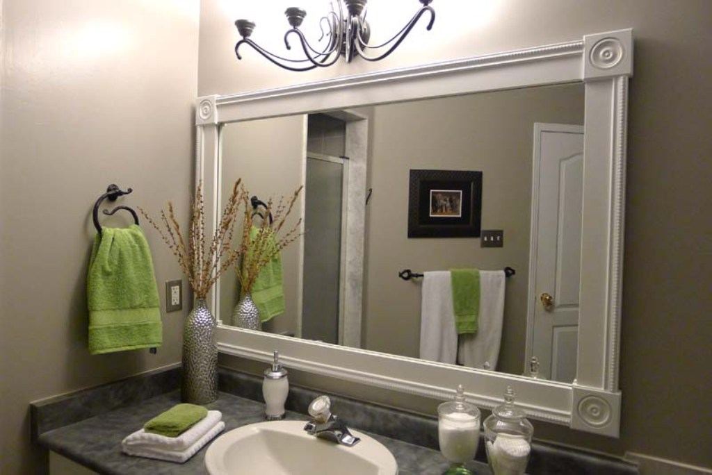 Image of: White Bathroom Mirror Installation