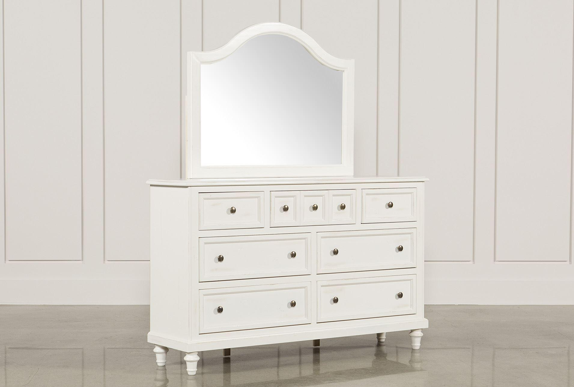 Image of: White Dresser And Mirror Set