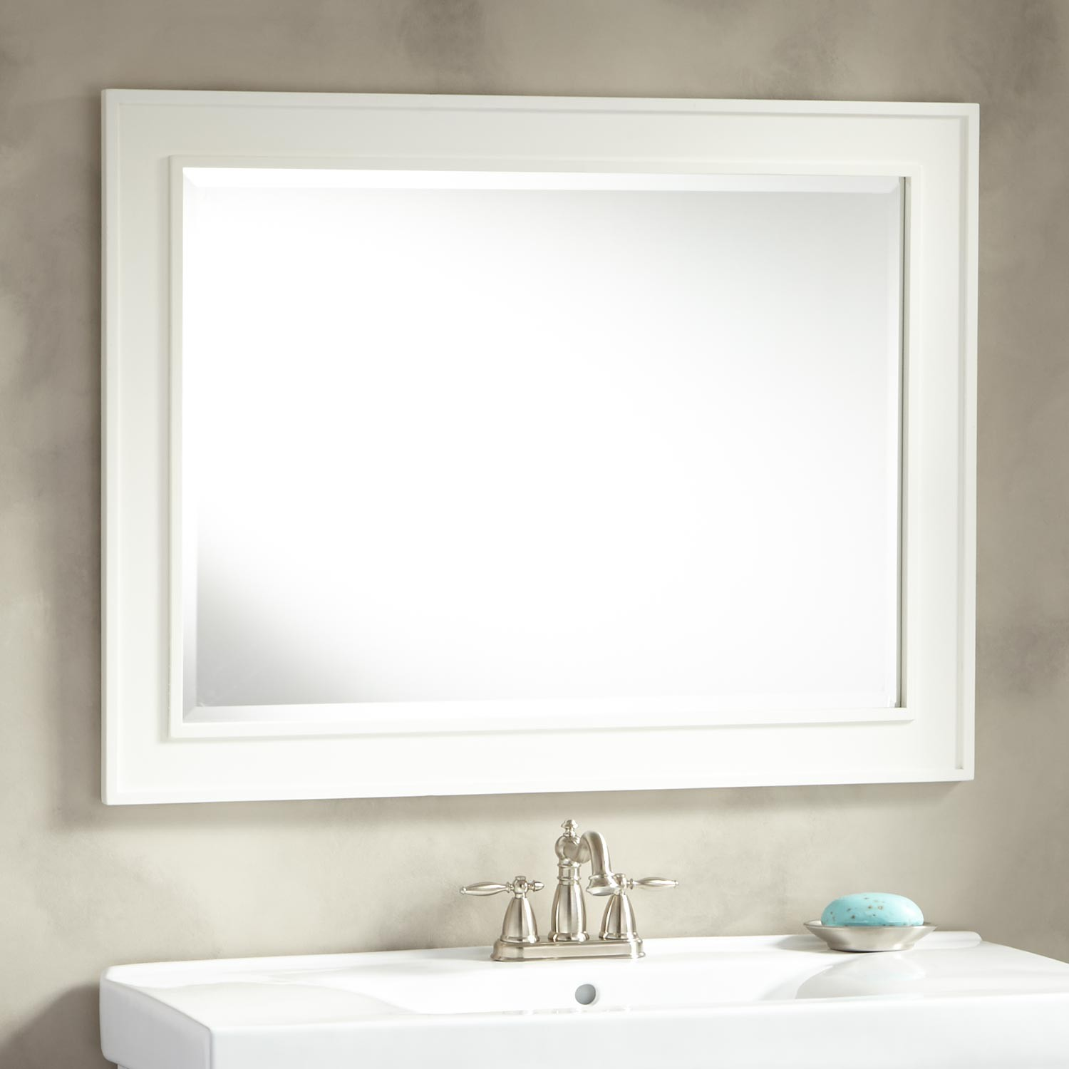 Image of: White Frame Mirror for Bathroom Design