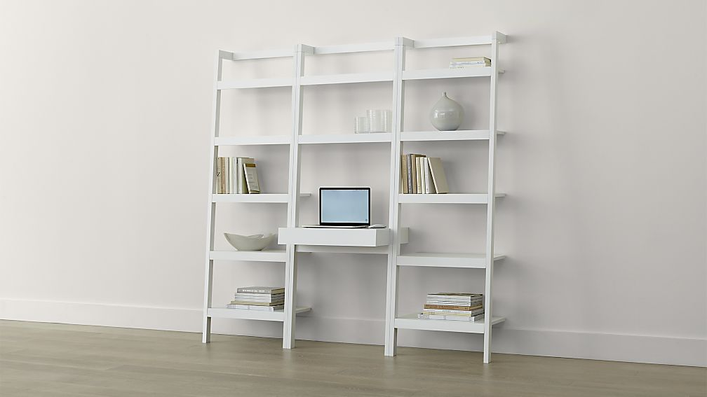 Image of: White Leaning Bookcase Decor