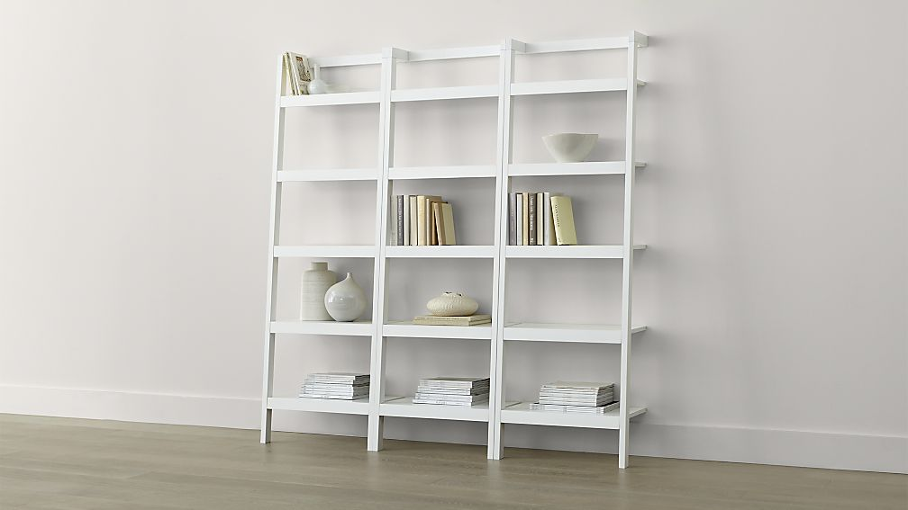 Image of: White Leaning Bookcase Designs