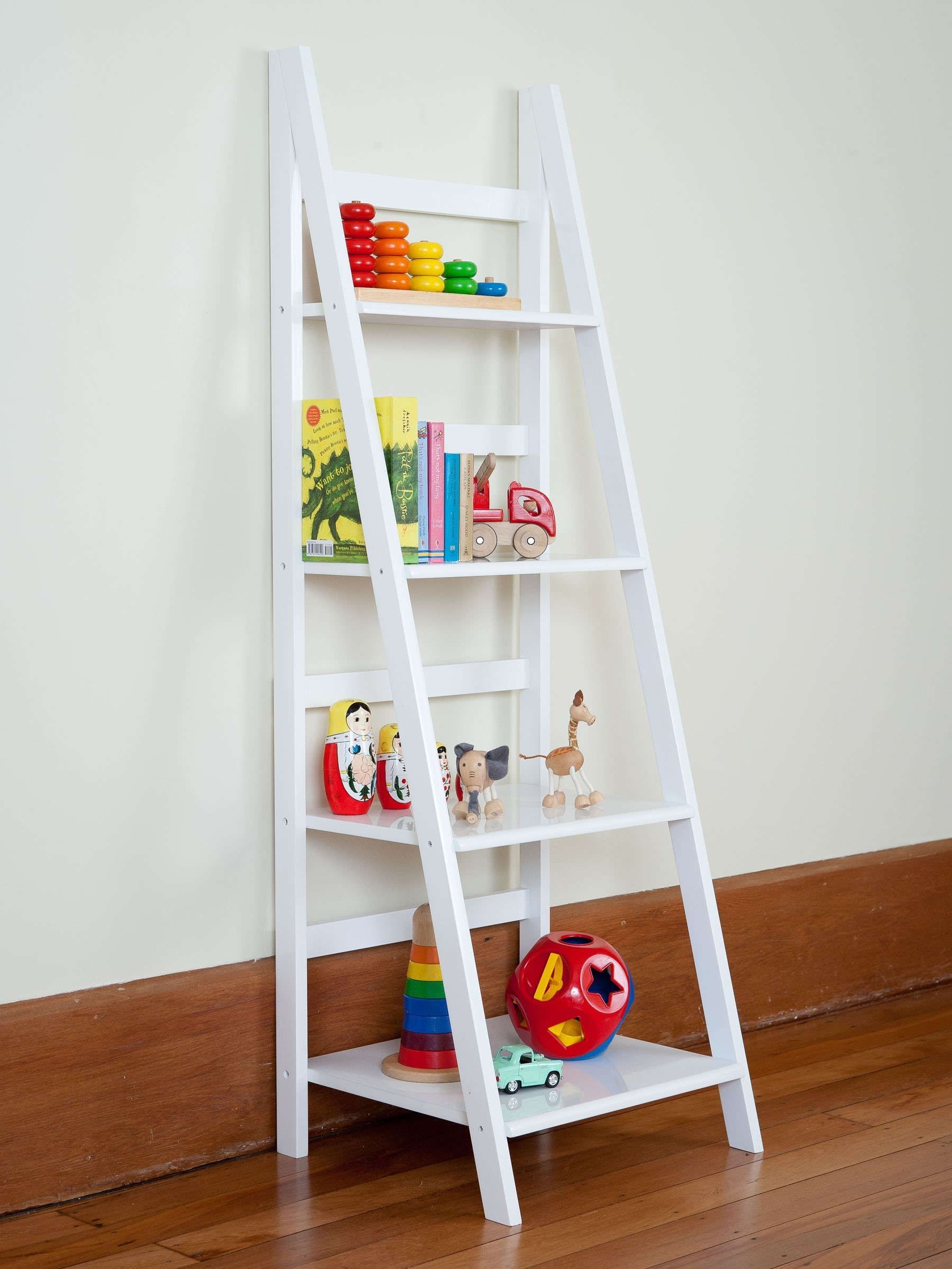 Image of: White Leaning Bookcase Kids