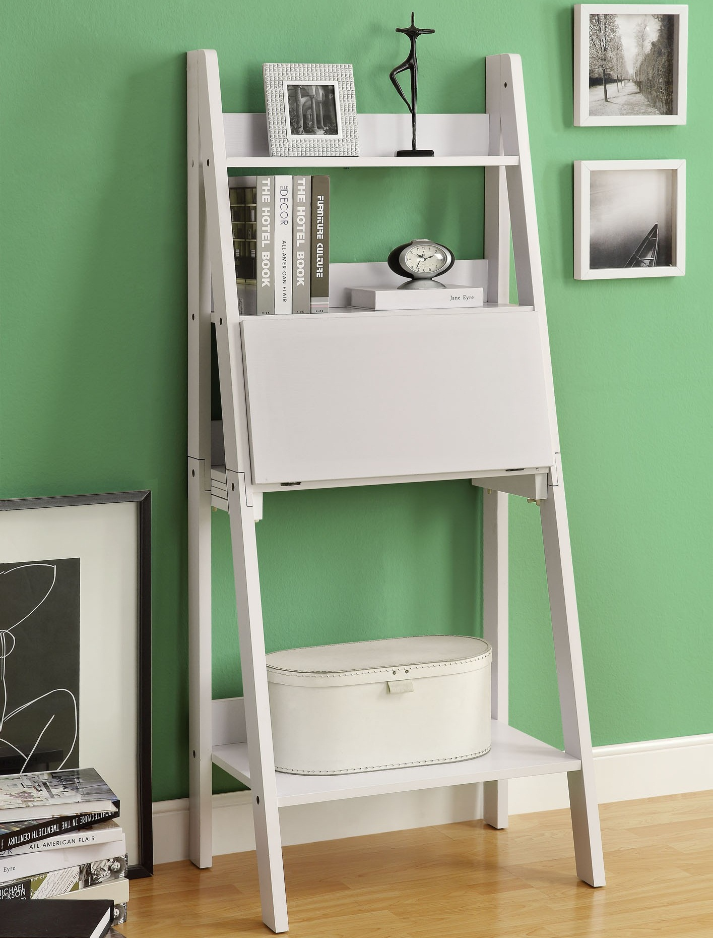 Image of: White Leaning Bookcase Ladder