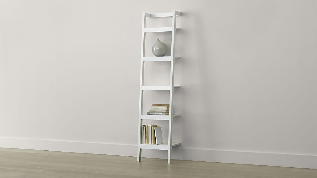 White Leaning Bookcase Small