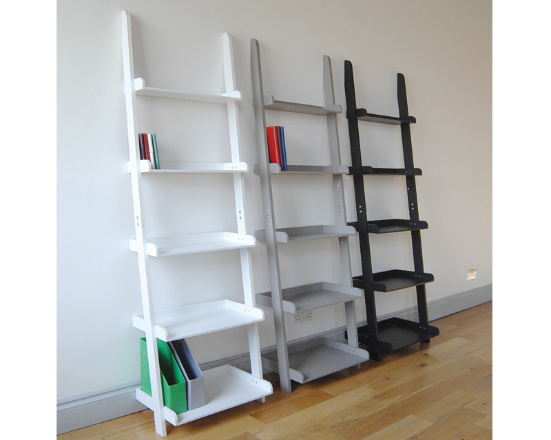 White Leaning Bookcase Units