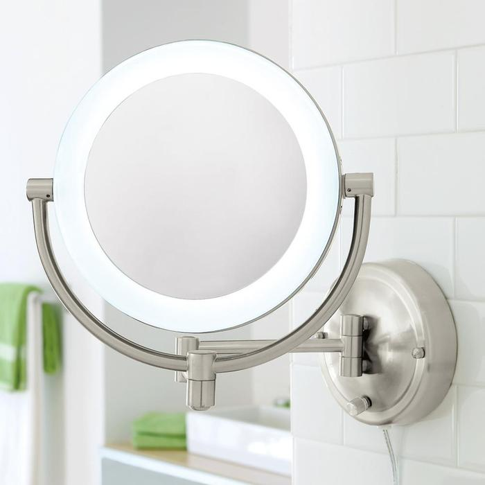 Image of: White Lighted Makeup Mirror Wall Mounted