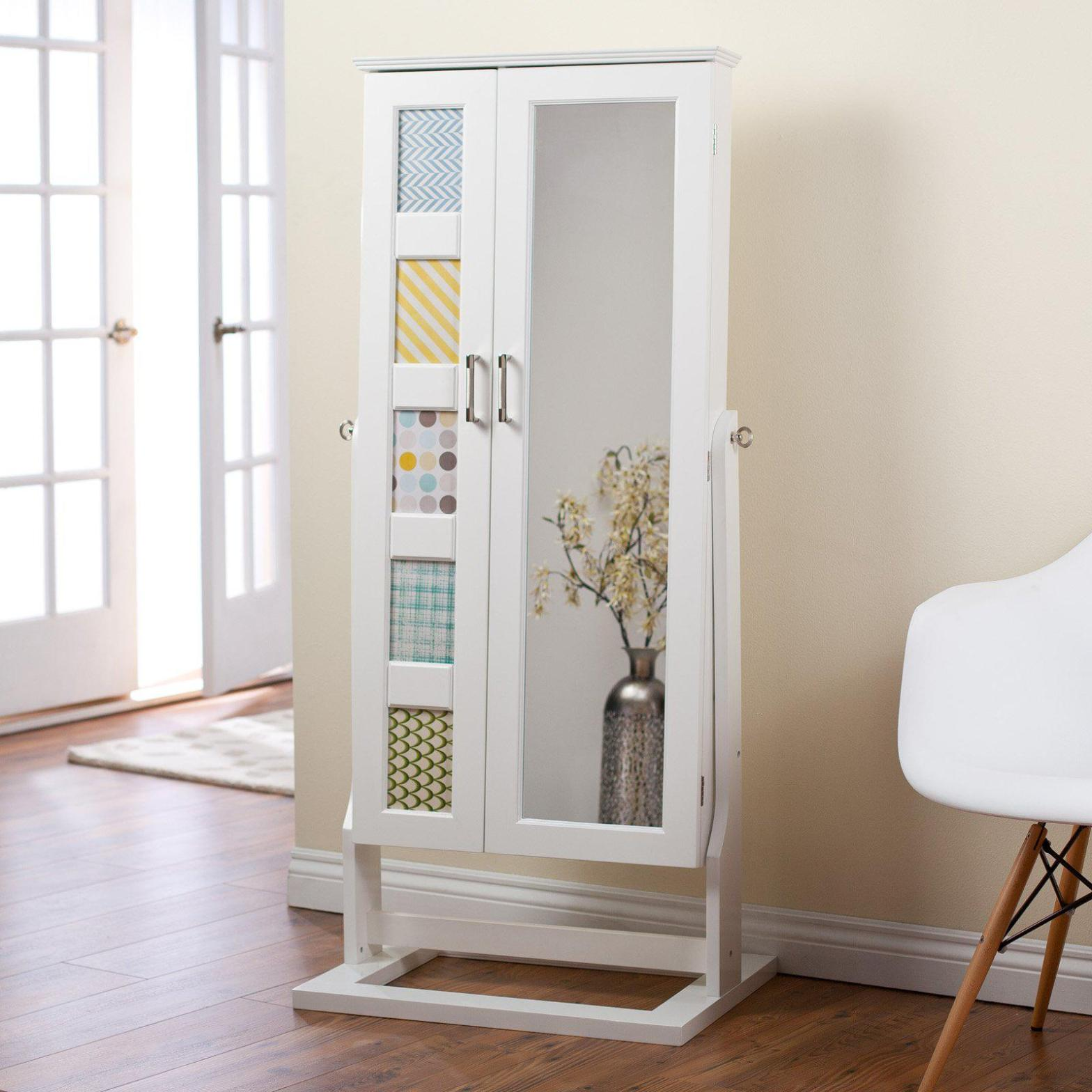 Image of: White Standing Mirror Jewelry Armoire