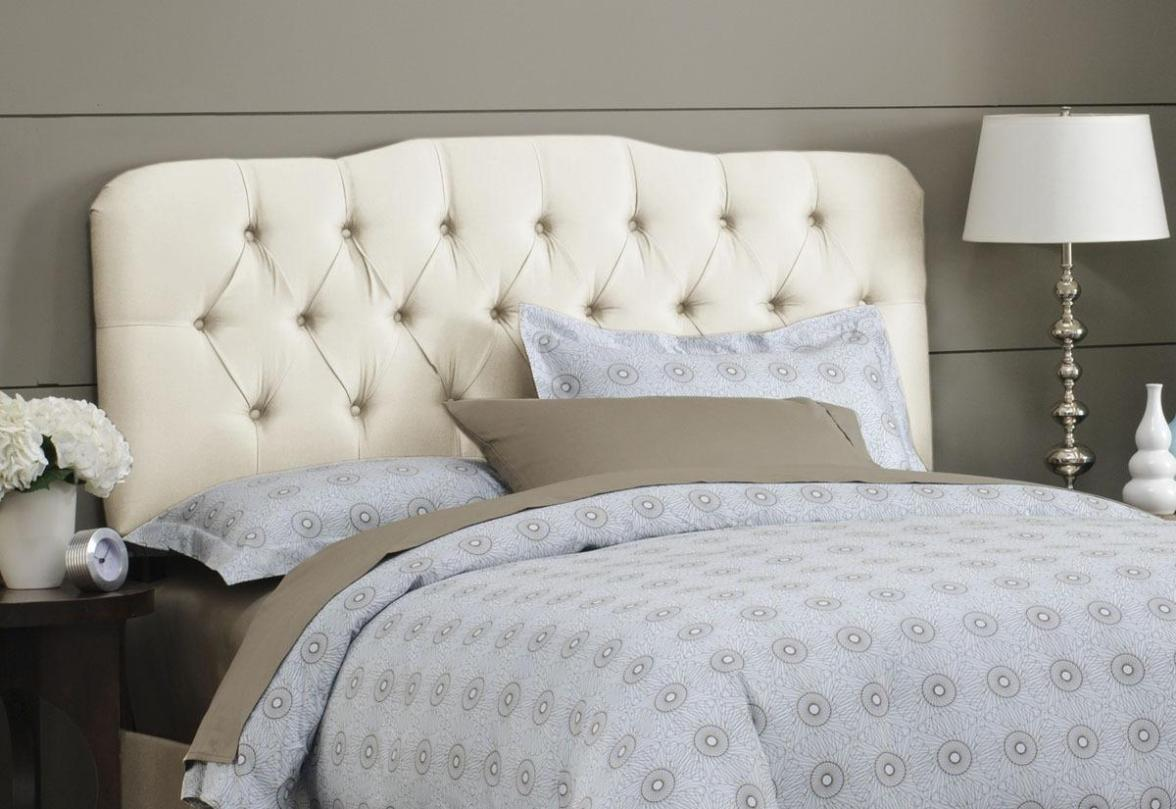 Image of: White Tufted King Headboard