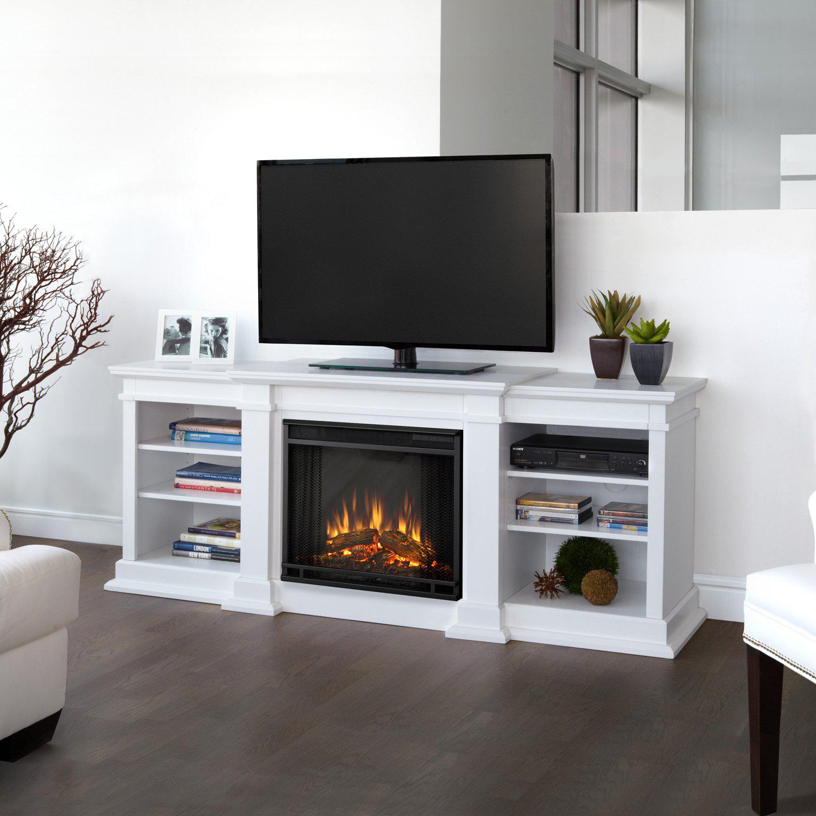Image of: White Tv Stand With Electric Fireplace