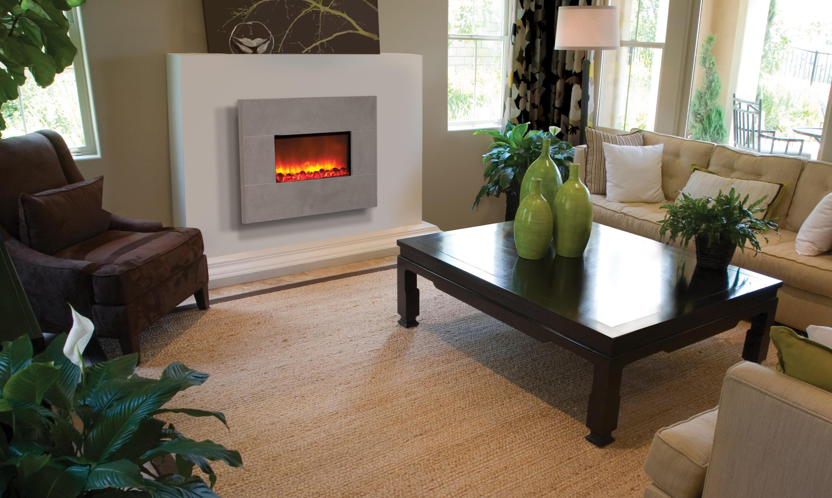 Image of: White Wall Mounted Electric Fireplace