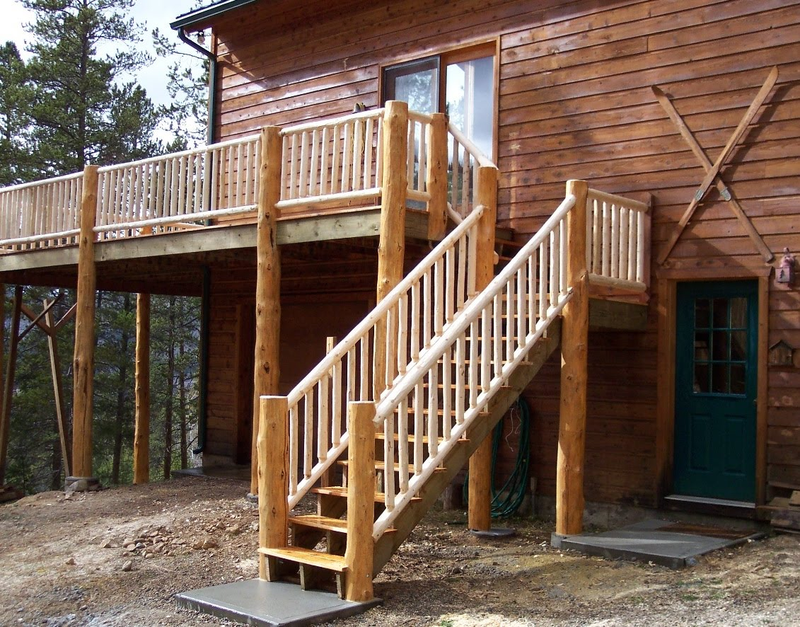 Wood Deck Stair Railing