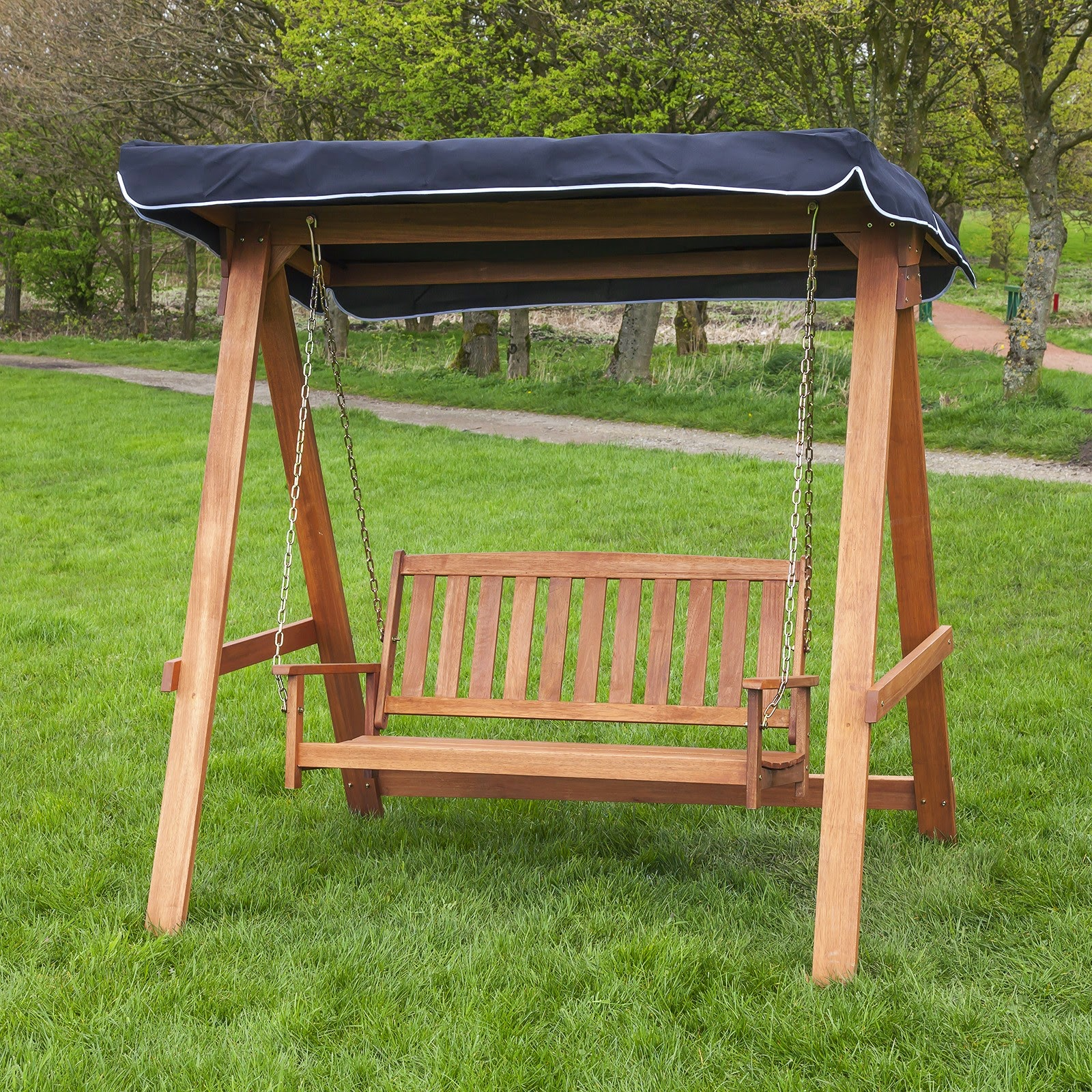 Image of: Wood Patio Swing with Canopy
