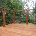 Wood and Wire Mesh Deck Railing