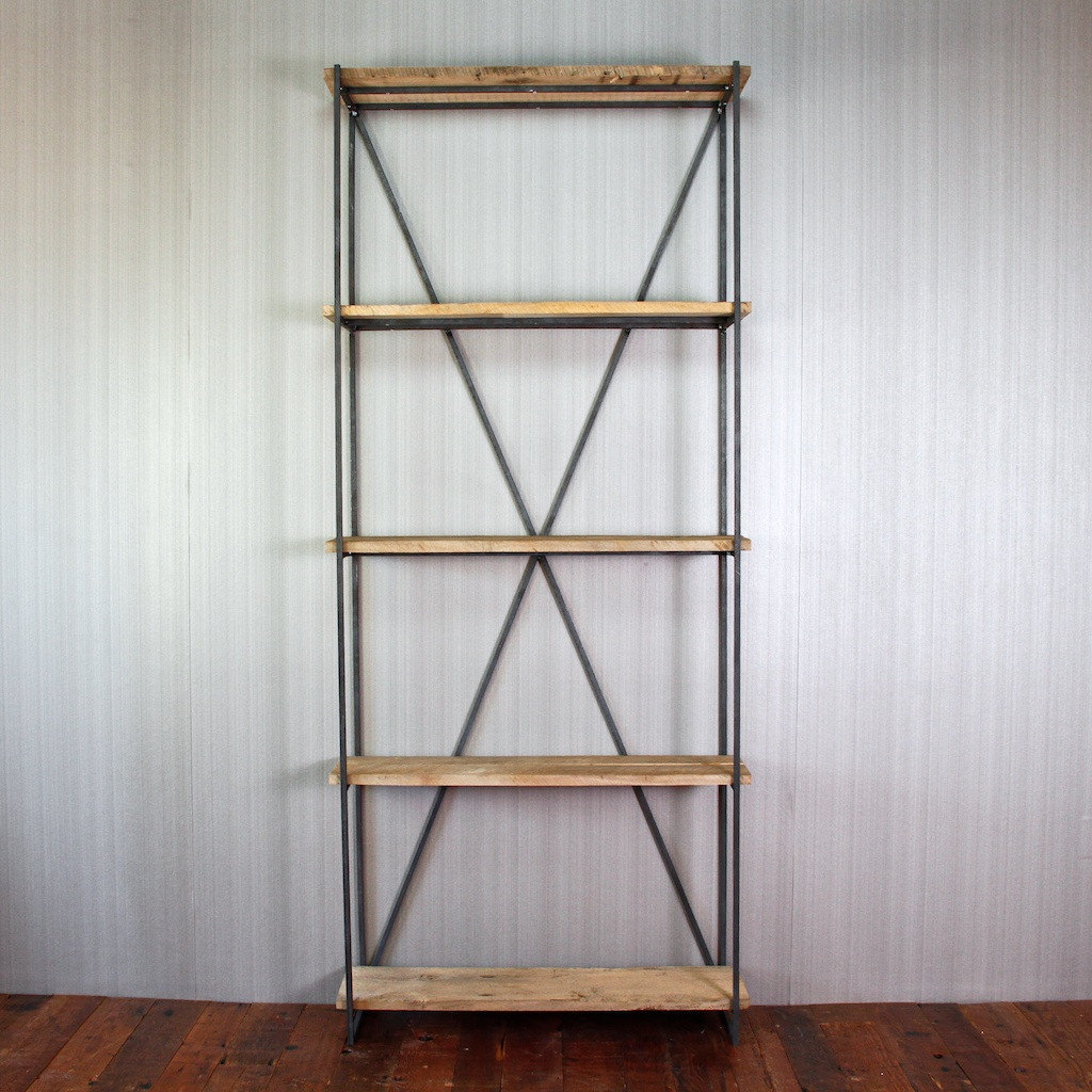 Image of: Wrought iron and reclaimed wood bookcase