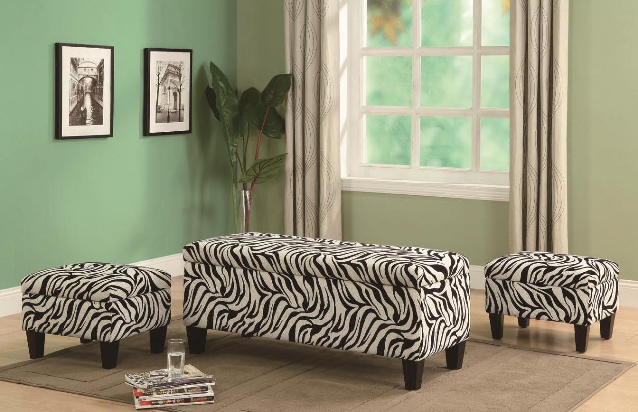 Image of: Zebra Storage Ottoman Bench