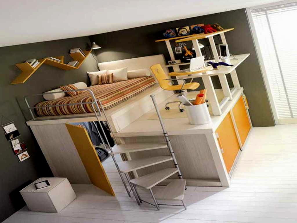 Image of: loft bed with desk and stairs 6