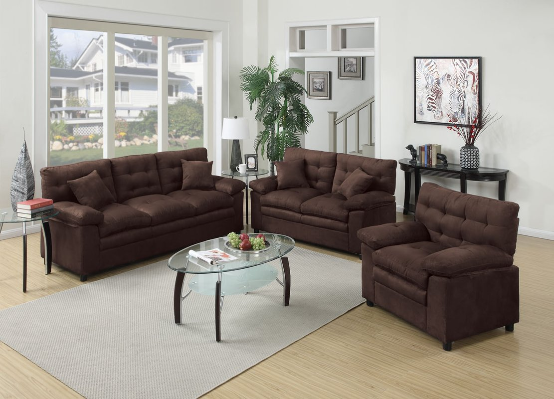 Image of: 3 Piece Living Room Set Brown