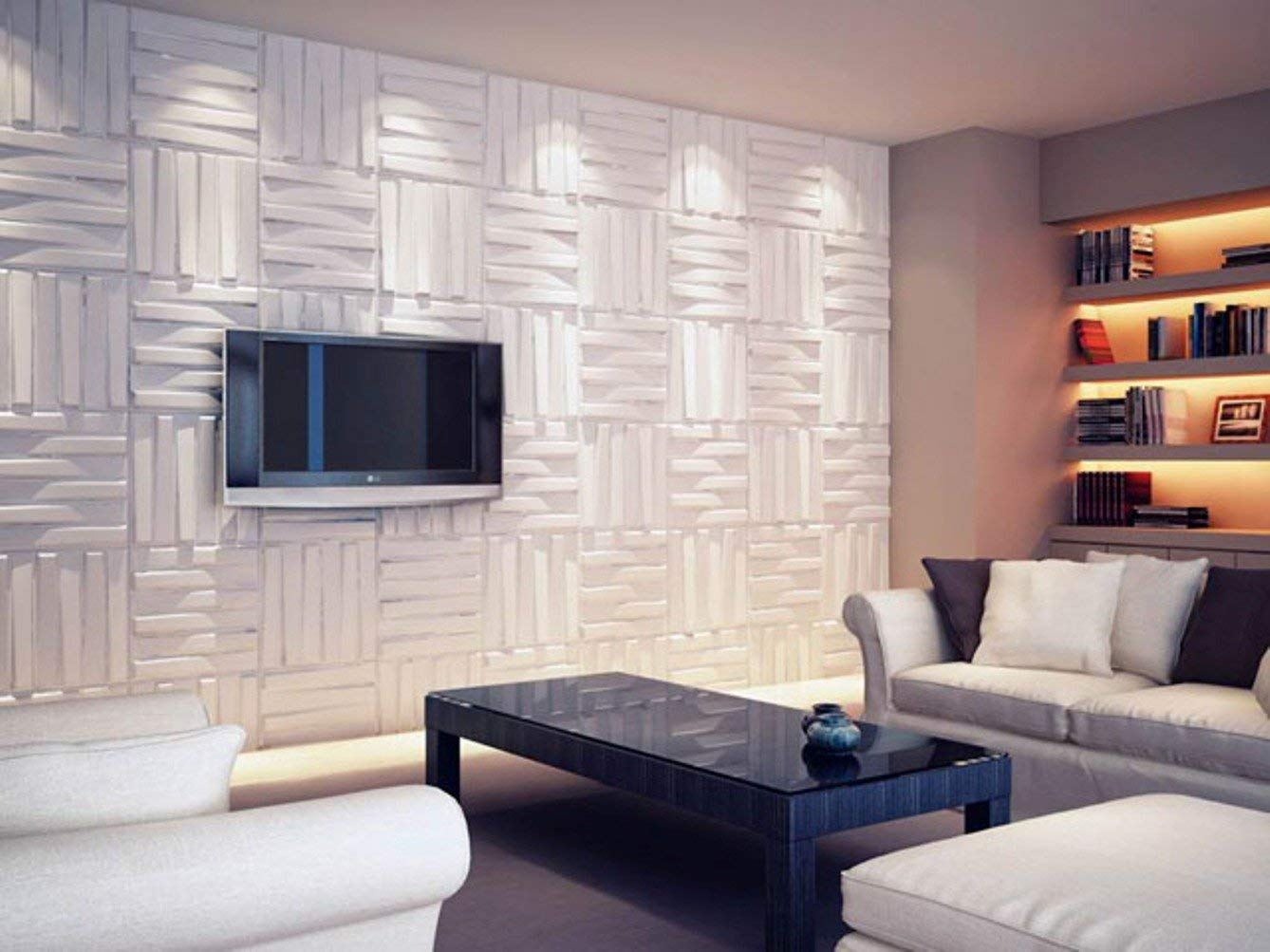 Image of: 3D White Wall Paneling