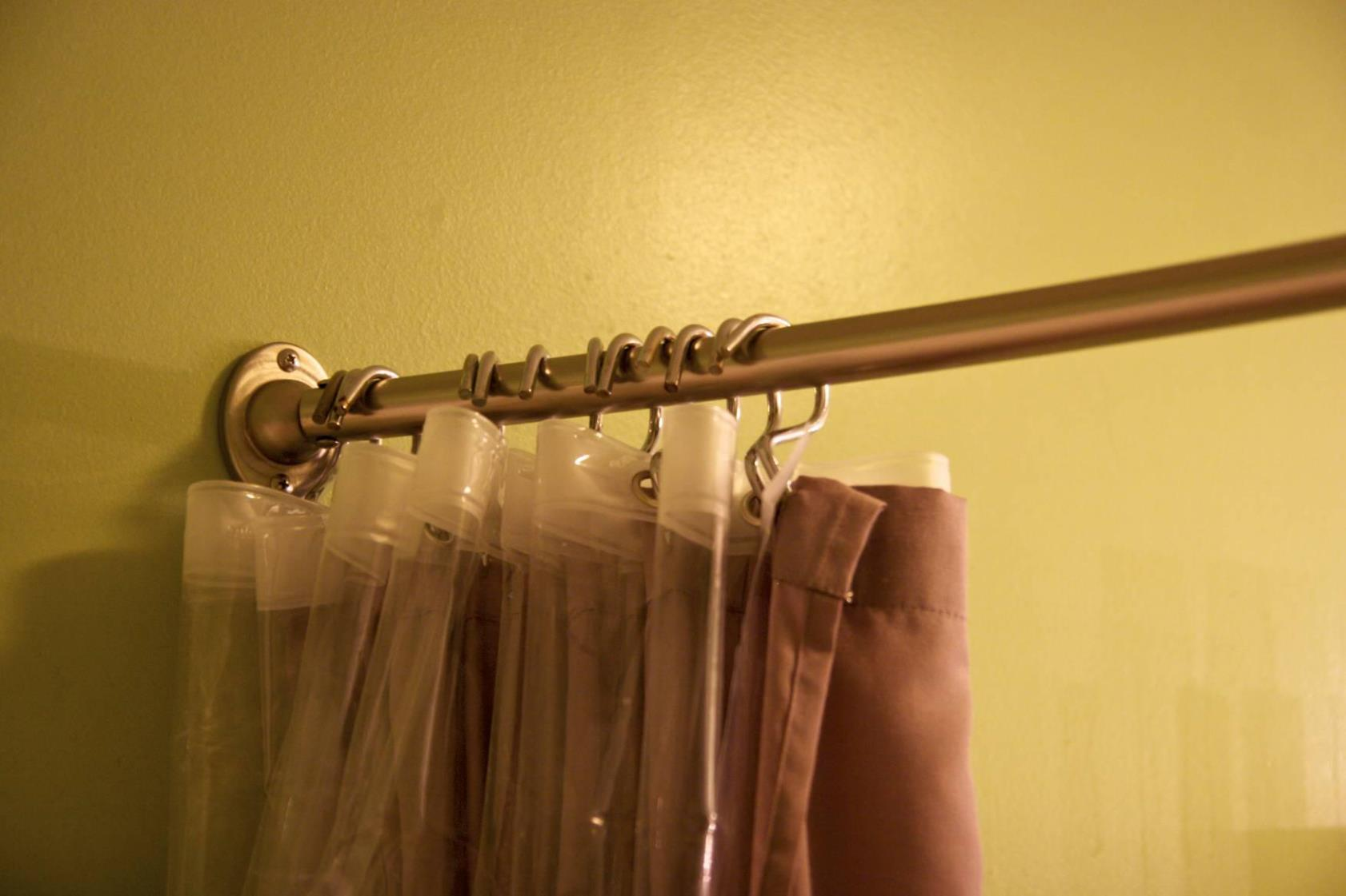 Image of: Antiqued Brass Curtain Rod Simple