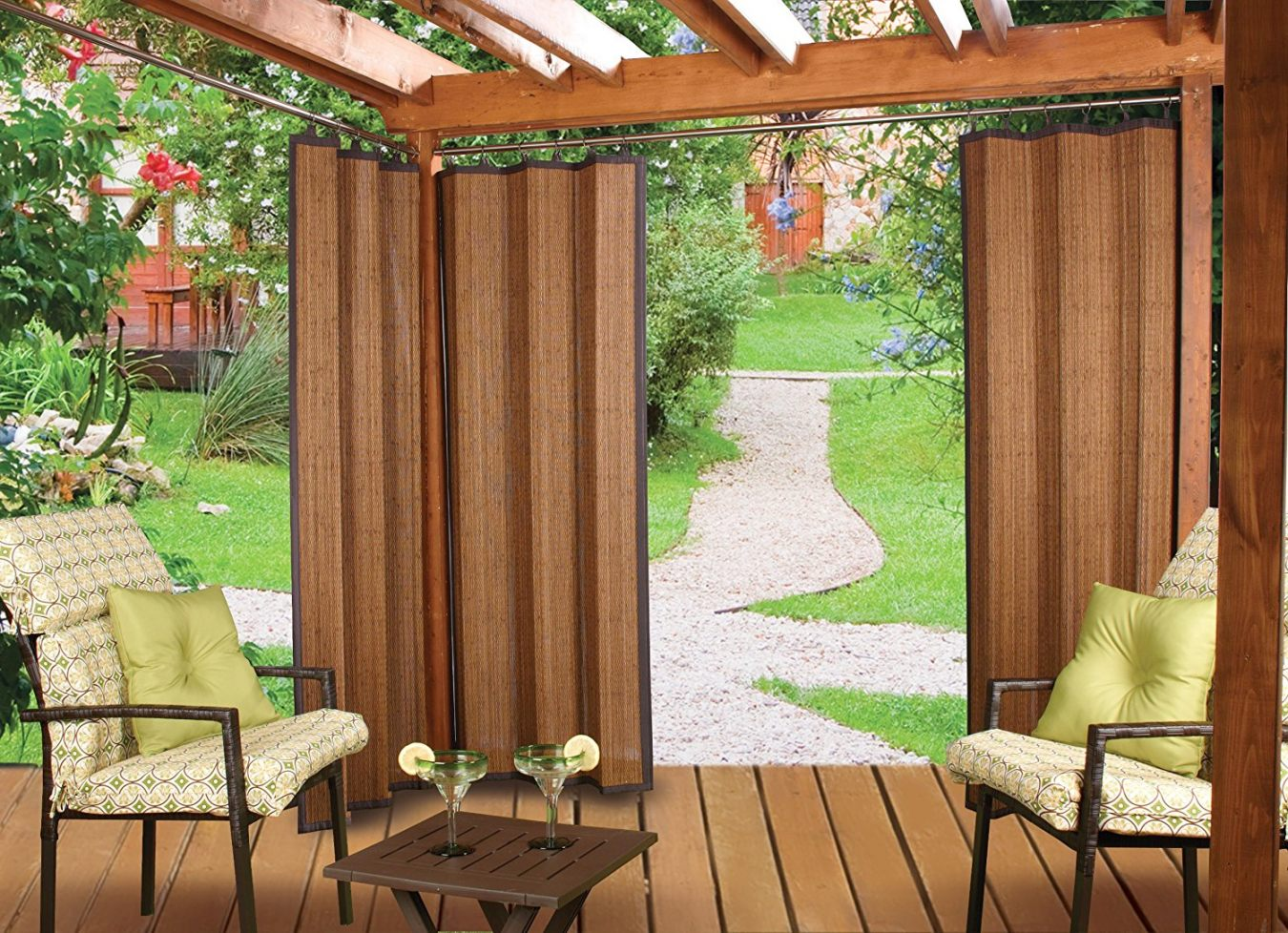 Image of: Bamboo Curtain Panel Patio