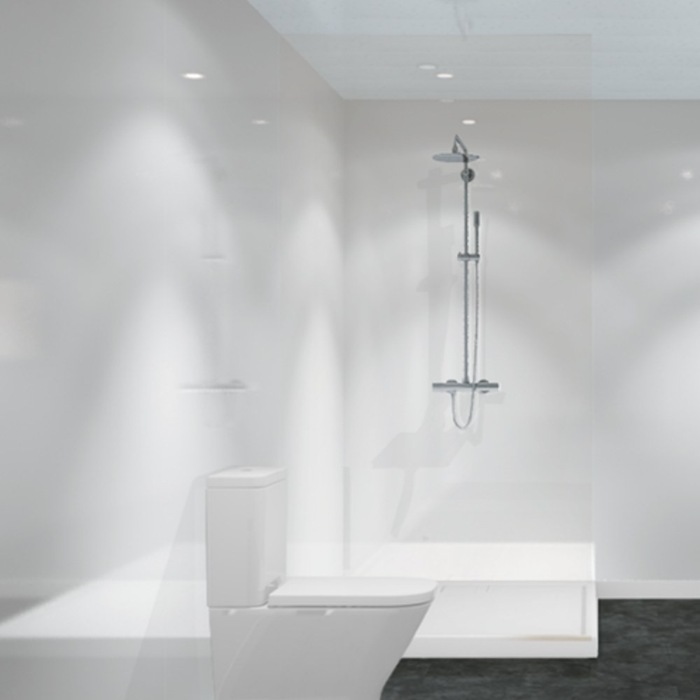 Image of: Bathroom White Wall Paneling