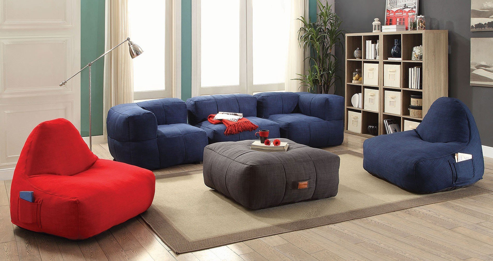 Image of: Bean Bag Living Room Blue