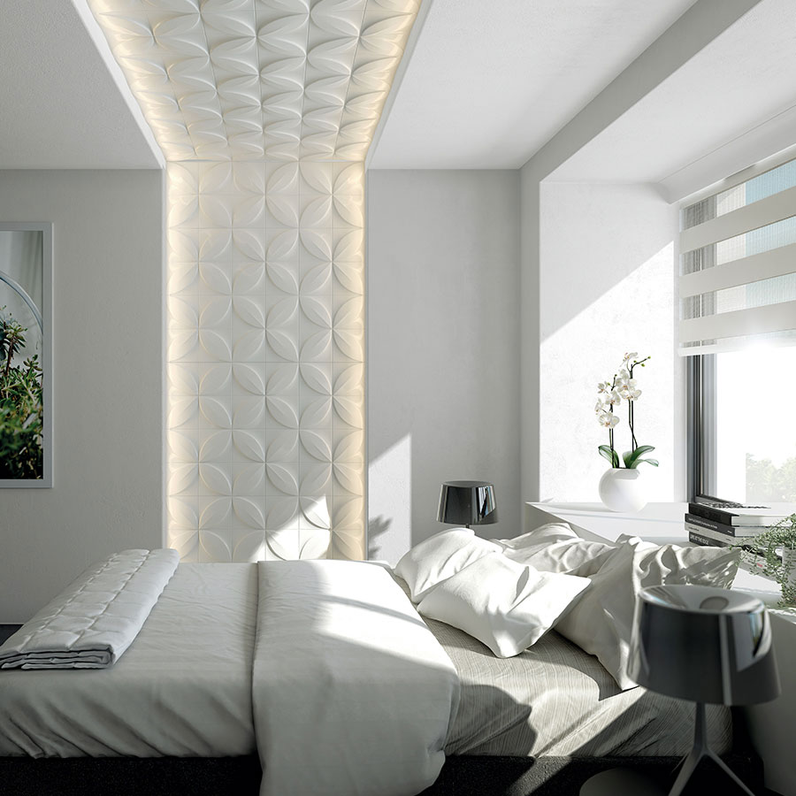Image of: Bedroom White Wall Paneling