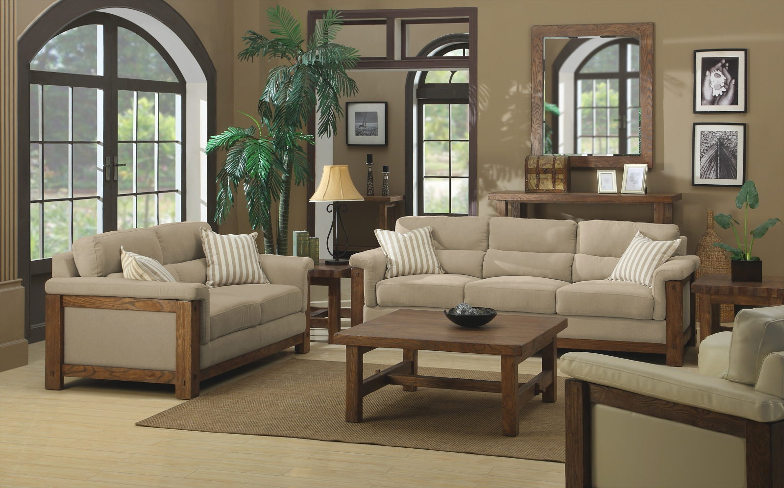 Beige Living Room Country