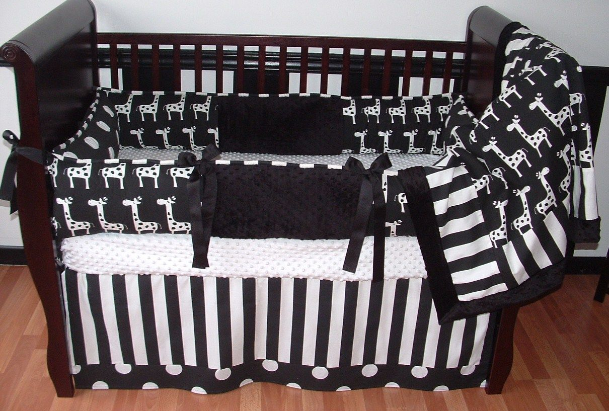 Image of: Black And White Bed Skirt Baby