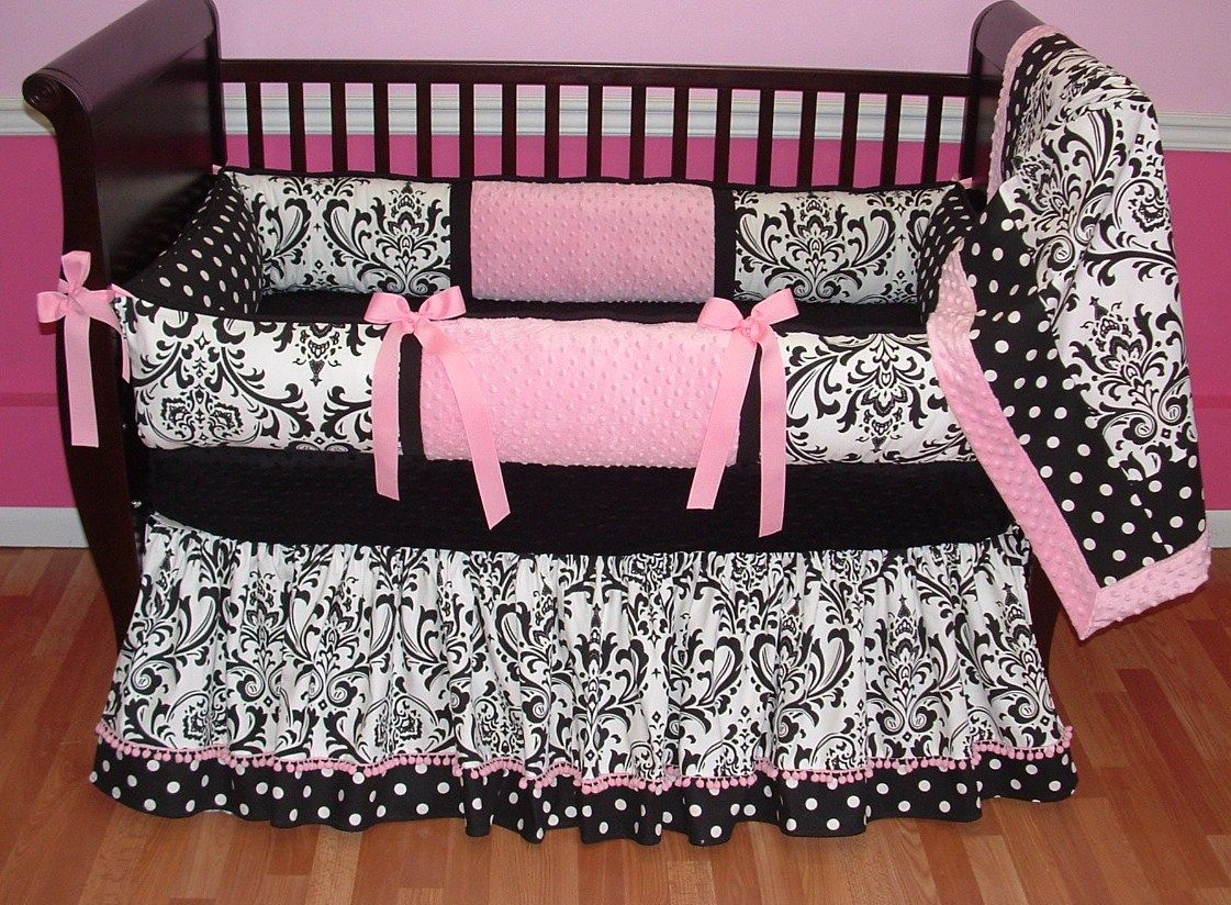 Image of: Black And White Bed Skirt Nursery
