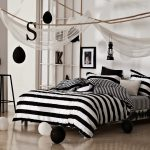 Black And White Striped Bed Skirt Classical