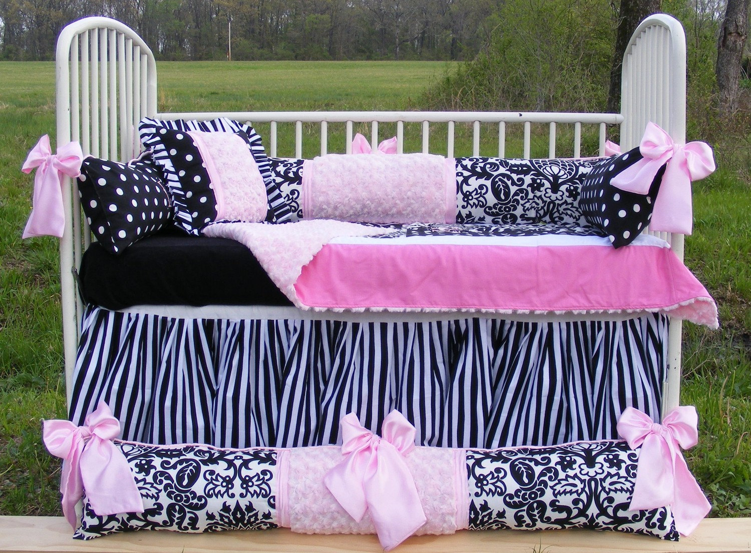 Black And White Striped Bed Skirt Modern
