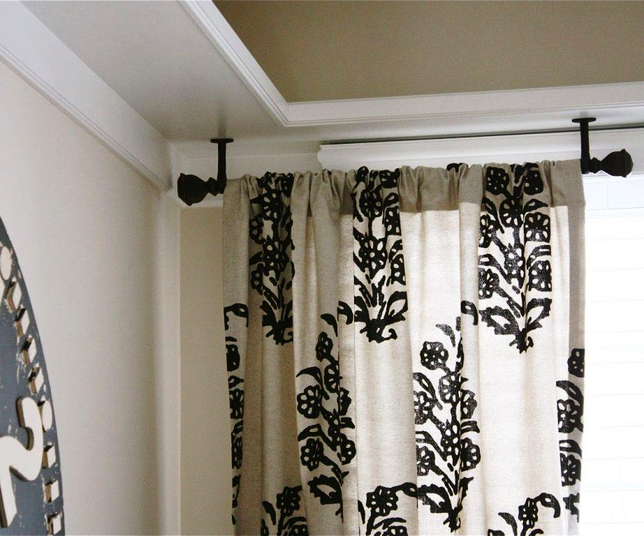 Image of: Black Curtain Rods Elegant