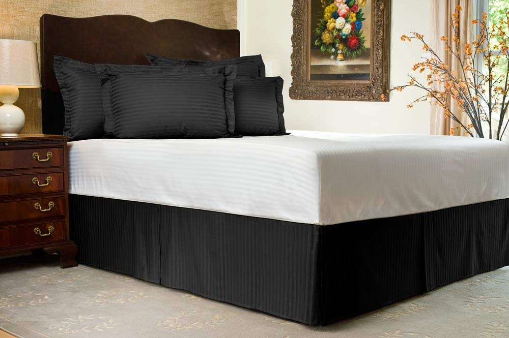 Image of: Black Tailored Bed Skirt