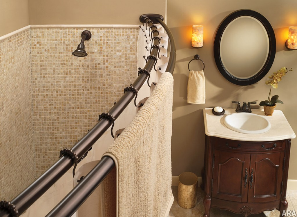 Image of: Bronze Curtain Rods Shower