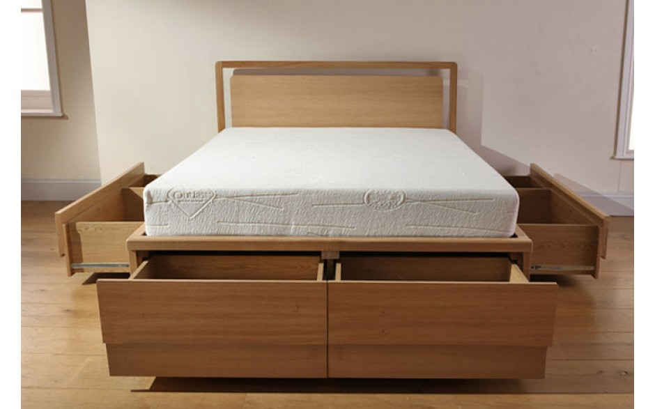 Image of: California King Storage Bed Open