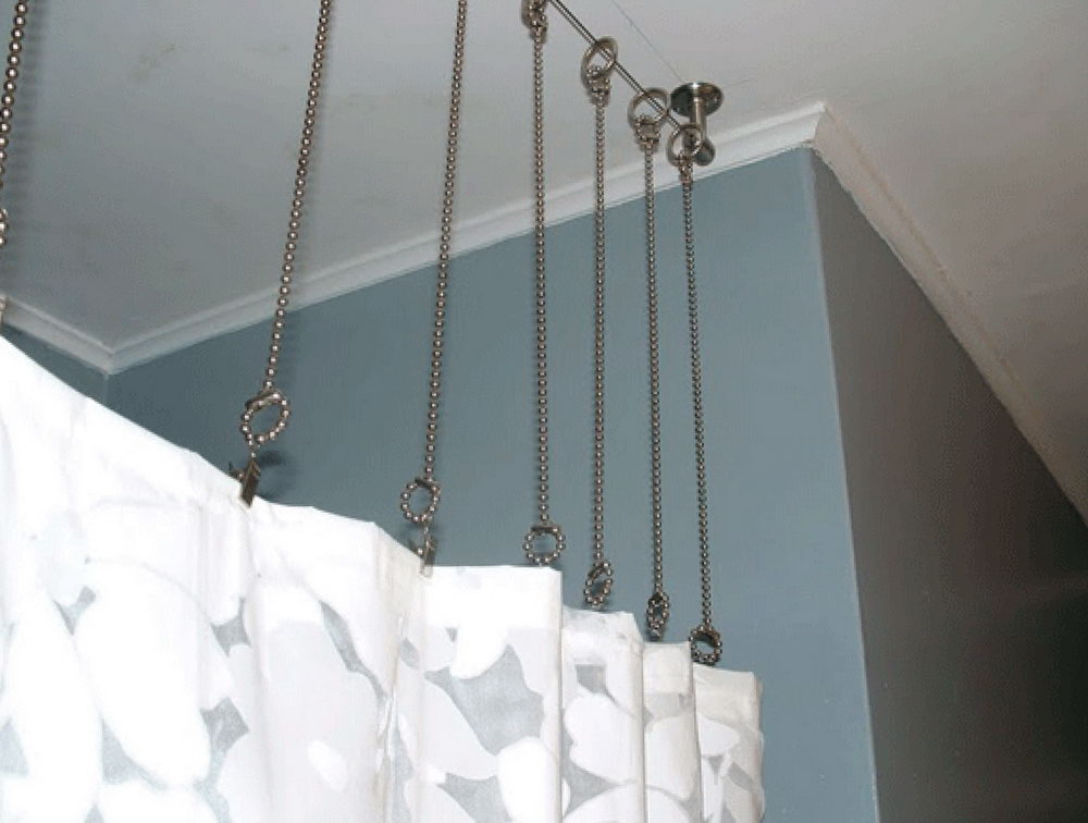 Image of: Ceiling Mount Curtain Rod Design