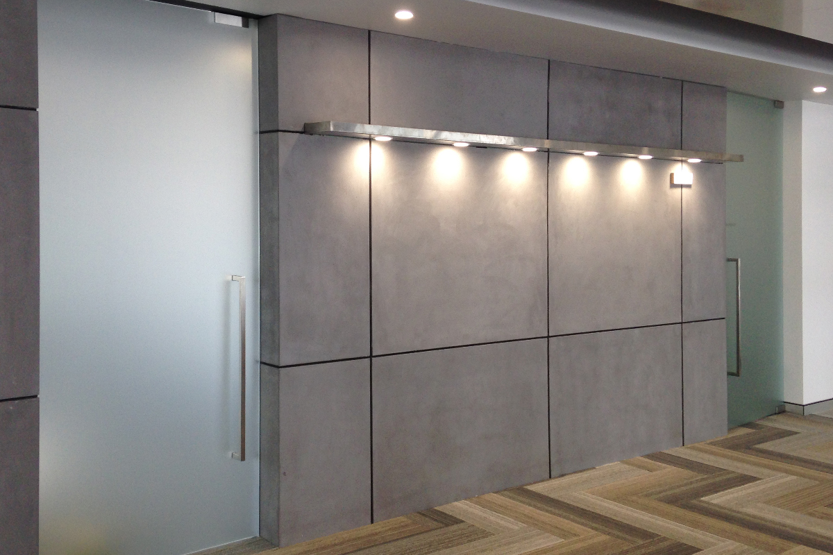 Image of: Concrete Wall Panels and Lamps