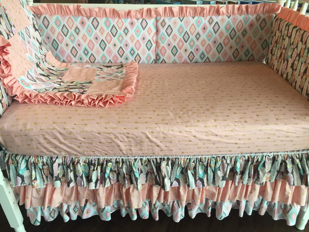 Image of: Coral Gold Bed Skirt