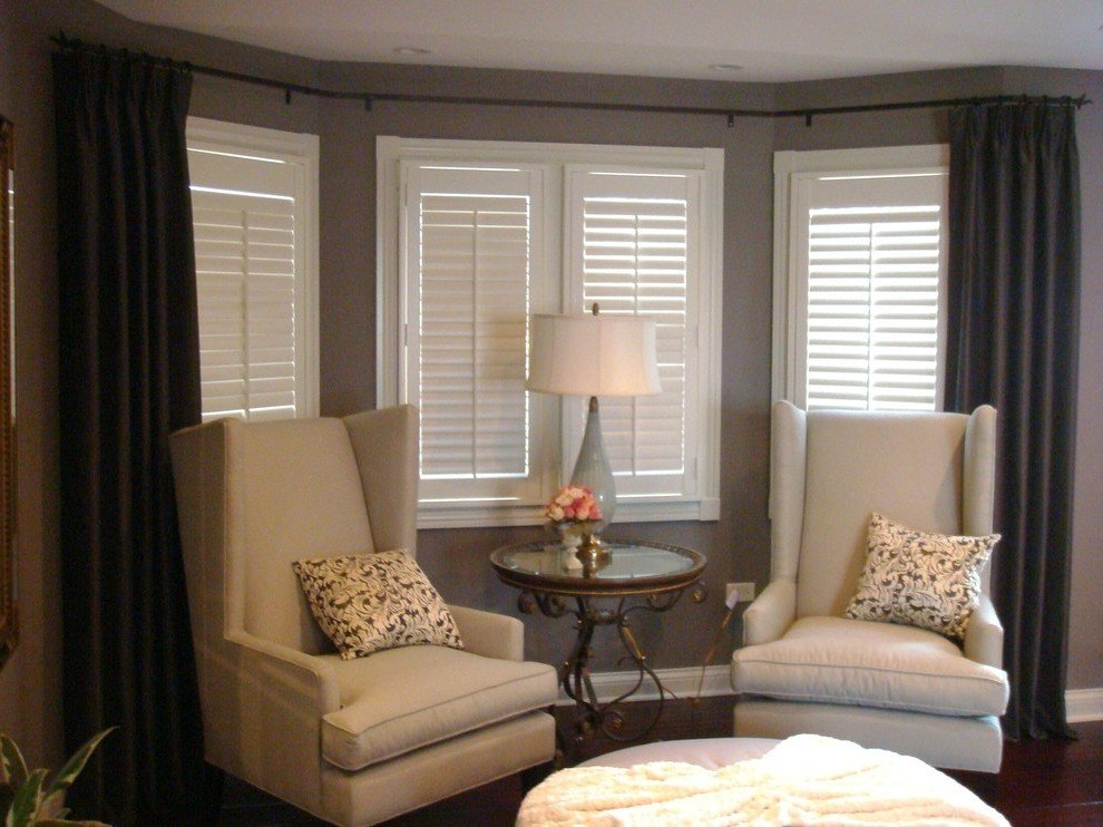 Image of: Corner Window Curtain Rod Style