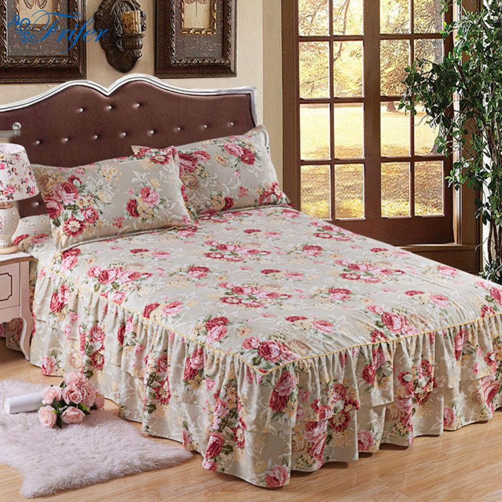 Image of: Cotton Patterned Bed Skirt