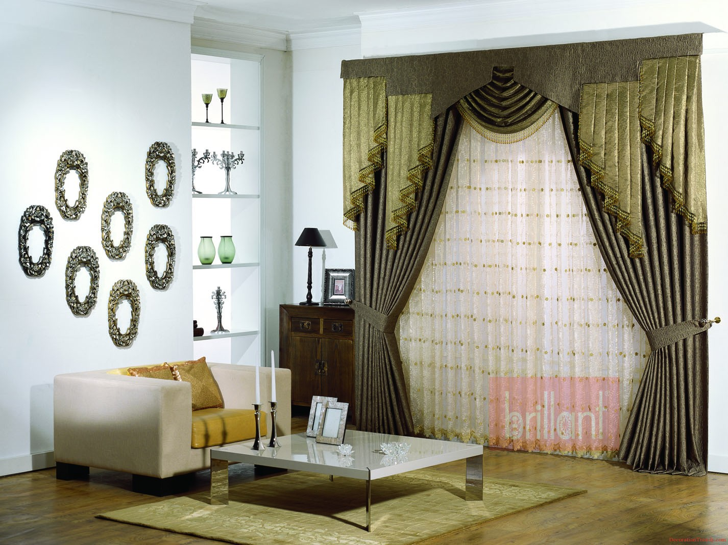 Image of: Curtain Designs Green