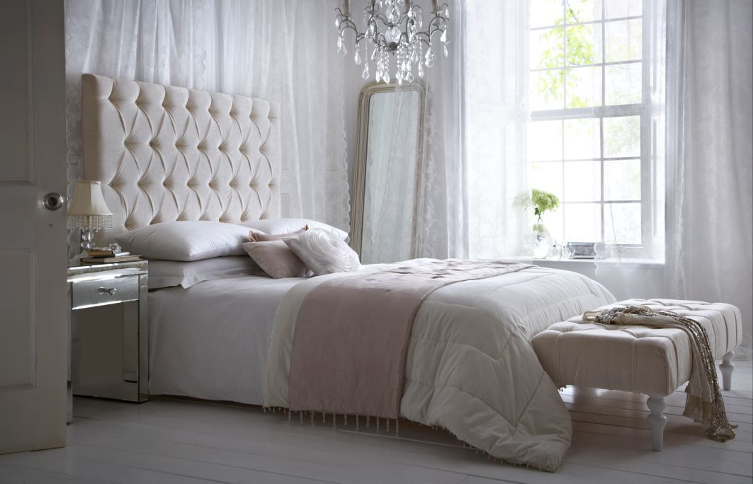 Image of: Curtain Headboard White
