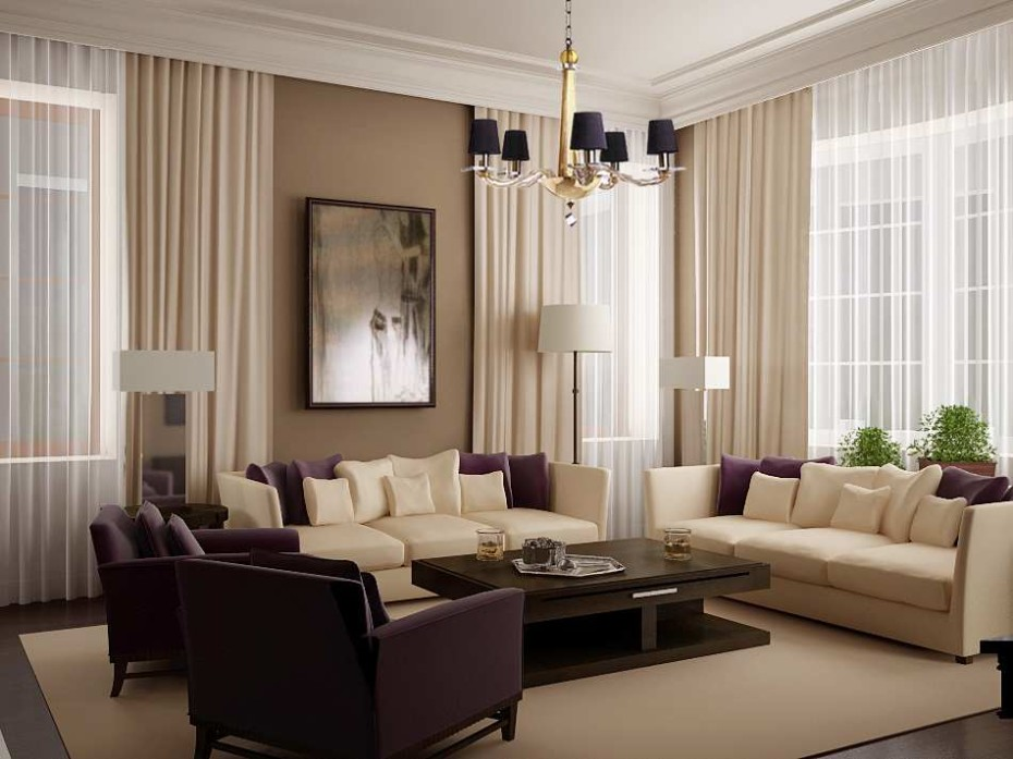 Image of: Curtain Ideas For Living Room Brown
