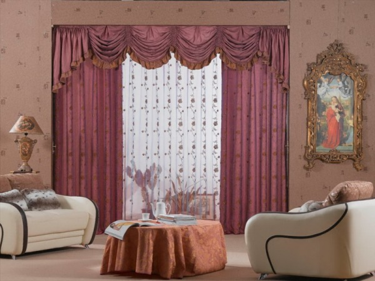 Image of: Curtain Ideas For Living Room Purple