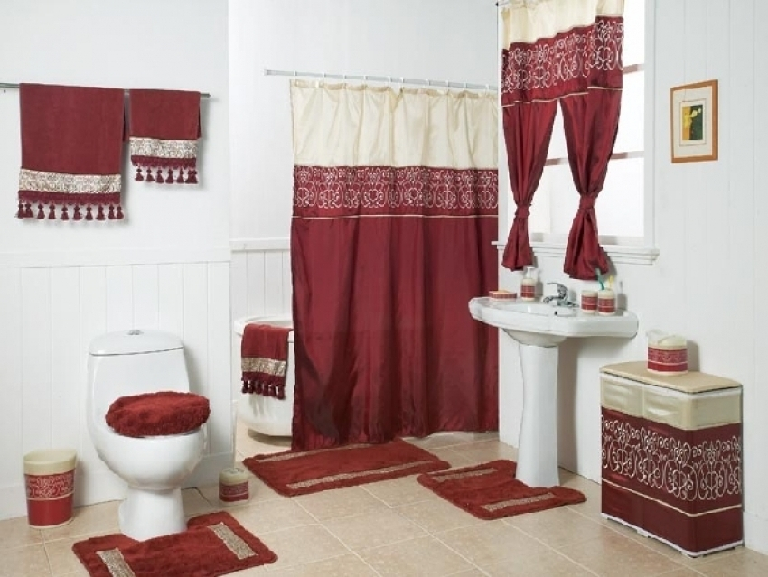 Image of: Curtain Set Red