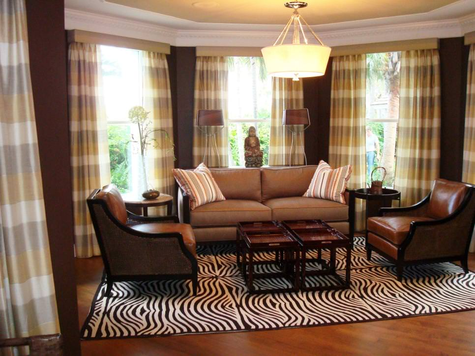 Image of: Curtains Living Room Brown